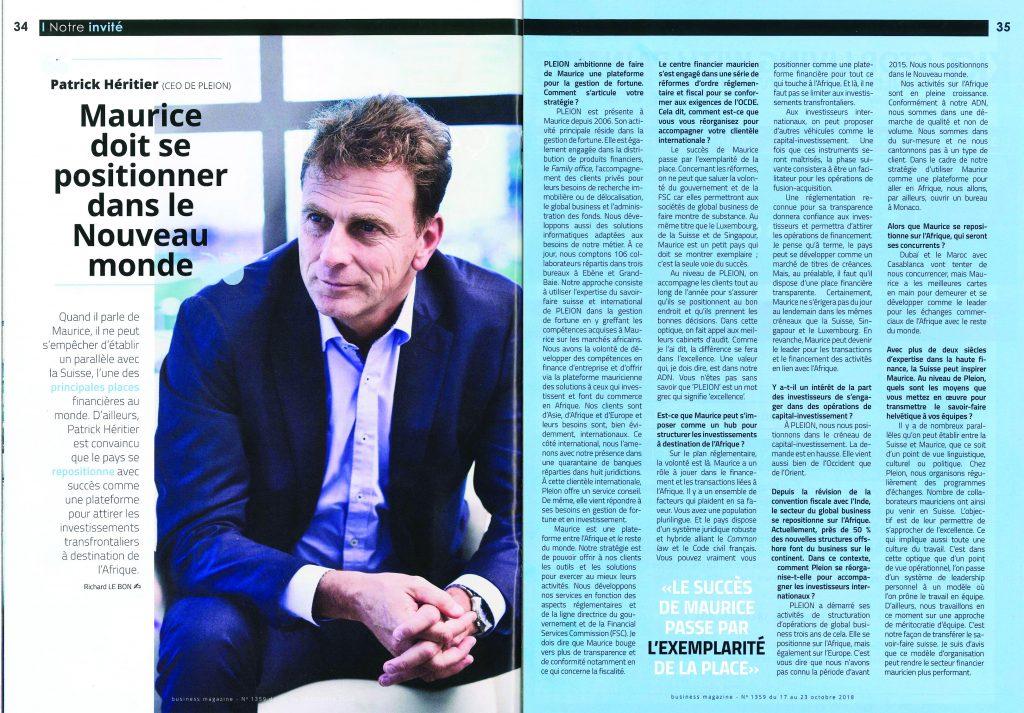 Patrick Héritier dans business magazine